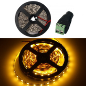 WOWLED - 5M Warm White 5050 SMD 300 LEDs Strip Light Decoration + DC Connector 12V