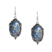 Persian Blue & Silver Colour Hummingbird Trumpet Flowers Cameo Vintage Style Dangle Earrings Silver Tone