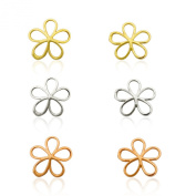 10K Solid Gold Three Colour Flower Earring Set