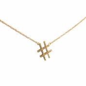 Beaute Fashion .925 Hashtag Twitter Number Sign Sterling Silver CZ Necklace Layering Pendant 41cm + 5.1cm Extender Chain - Gift Boxed