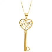 14k Yellow Gold LOVE KEY to your HEART Pendant with 46cm chain (PD101