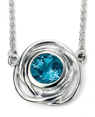 My-jewellery 925 Silver plated rhodium and topaz blue trend necklace 50cm - 130cm