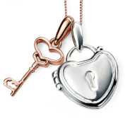 My-jewellery 925 Silver rose gold plated key and padlock necklace 50cm - 130cm