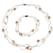 Multi Colour Braided Pearl Bead Necklace and Bracelet Set