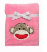 Sock Monkey Pink Ultra Plush Blanket Gift