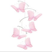 Butterfly Mobile Pink Twinkle Nylon Butterflies Mobiles Decorations Decorate Baby Nursery Bedroom, Girls Room Ceiling Decor, Birthday Party, Baby Shower, Baby Crib Hanging Mobile, Childrens 3D Art