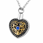 HooAMI Blue Crystal Marigold Heart Memorial Urn Keepsake Ashes Locket -Cremation Jewellery CZ Pendant Necklace