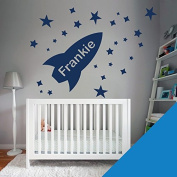 Custom Wall Art Sticker - Boys Bedroom - Rocket, Stars, Name - Please message us with the name!