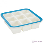 Pratico Kitchen Superb Cube Silicone Ice Cube Tray with EZ-Release and No-Spill Steel Reinforced Rim - Makes 9 - 3.6cm Cubes