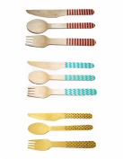Perfect Stix Mixed Cutlery Set- 36ct Printed Wooden Cutlery Set, Polka Dot, Chevron and Striped Patterns