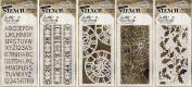 Tim Holtz Stencils Set - #11 to #15 - Schoolhouse, Measured, Clockwork, Shatter & Holly Bough - 5 Item Bundle