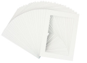 Mat Board Centre, Pack of 25, 5x7 White Picture Mats with White Core for 4x6 Pictures