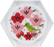 cosmo cross stitch embroidery kit cross stitch coaster plum and nightingale 6412
