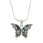 Liav's Butterfly Charm Pendant Fashionable Necklace / Wavy Filigree / Abalone Paua Shell / Rhodium Plated / 43cm Snake Style Chain / Unique Gift and Souvenir