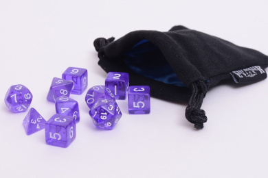 10 Piece Purple Translucent Polyhedral Dice Set - Includes Four Six Sided Dice (D6) and Free Small Dice Bag