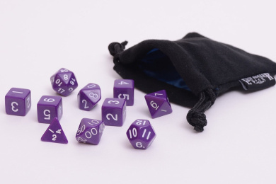 10 Piece Purple Opaque Polyhedral Dice Set - Includes Four Six Sided Dice (D6) and Free Small Dice Bag
