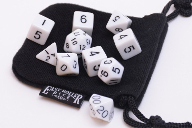 10 Piece White Opaque Polyhedral Dice Set - Includes Four Six Sided Dice (D6) and Free Small Dice Bag