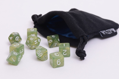 10 Piece Olive Green Polyhedral Dice Set - Includes Four Six Sided Dice (D6) and Free Small Dice Bag