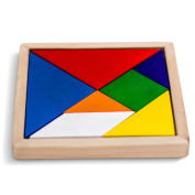 Wooden Tangram Puzzle Game, Rainbow Coloured, 14cm