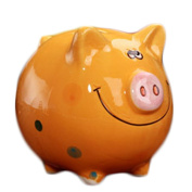 Child Cherish Large Pig Ceramic Piggy Bank Toy Bank Orange