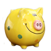 Child Cherish Large Pig Ceramic Piggy Bank Toy Bank Yellow