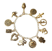 22k Gold Plated Deluxe Gold Ancient Religions Charm Bracelet-14k Gold-filled Chain- World Peace, Coexist