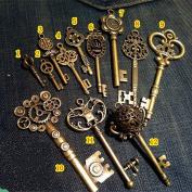 Vintage Skeleton Keys Charm Set Royal Key in Antique Bronze Pack of 12 Keys, 12 Different Style, No Repeat