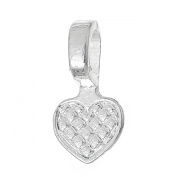 Rockin Beads Brand, 50 Glue on Heart Bails Pendant Hanger Silver Plated 22x10mm