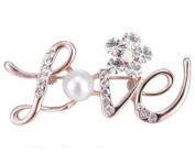 New Gold Cute Luxury Love Letter Pearl Crystal Brooch Pin Unique Cheap Jewellery