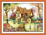 Benway Counted Cross Stitch Cottage With Colourful Flowers Steps And Trees 14 Count 45cm X 35cm