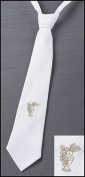 Boys First Holy Communion Gold Embroidered Chalice Design 36cm White Cotton Adjustable Dress Neck Tie