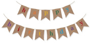 Rustic Burlap Happy Birthday Banner - Premium Quality Birthday Party Decortions by The Sterling James Company