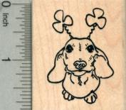 Saint Patrick's Day Dachshund Rubber Stamp, Dog with Shamrock Antennae