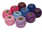 Vog© Perle Cotton Size 8 Embroidery Threads - Set of 10 Balls (10gr Each) - Pink, Purple and Blue Shades