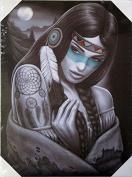 DGA Day of the Dead Native American Stretched Wood Frame Canvas Wall Art 30cm x 41cm - Dreamcatcher