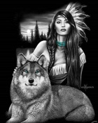 DGA Native Girl and Wolf Stretched Canvas Wood Framed Wall Art 30cm x 41cm - Harmony