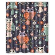 CozyBath Owl Waterproof Polyester Fabric 150cm (w) x 180cm (h) Shower Curtain and Hooks