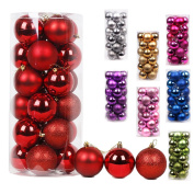 "AMS® 24ct 80mm/3.14"" Diam Christmas Ball Pendant Ornaments Hanging Trees Pretty Decorations"