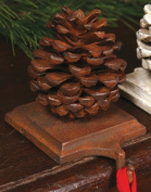 Cast Iron Pinecone Christmas Stocking Holder - Rust