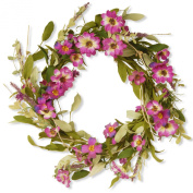 National Tree Garden Accents Floral Wreath with Daisy and Lavender, 50cm , Purple