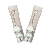 . Bear Doll- Safe Car Soft Seat Belt Strap Cover, A Pair, Apricot
