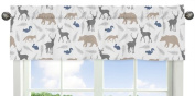 Sweet Jojo Designs Blue Grey and White Woodland Animals Collection Deer Bear Fox Window Valance
