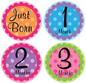 Belly Doodles 16 Monthly Baby Stickers Girls Milestones Polka Dots 10cm