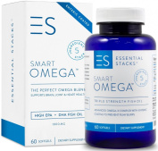 SMART OMEGA 3 Fish Oil Pills For Brain & Heart Health In 40yo+ Men & Women. Triple Strength 1400mg DHA EPA and GUARANTEED To Be Burpless Or Money Back. Supports Memory, Focus & Mood. Made In USA.