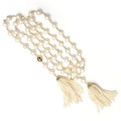 White Freshwater Pearl 110cm Tassel Gold Necklace