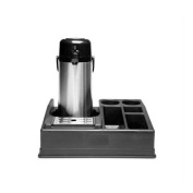 Service Ideas APLR15BL Airpot Stand, Holds 1-Airpot, 5 Compartments for Condiments, Plastic, Black