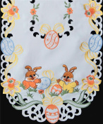 Creative Linens Embroidered Easter Bunny Egg Floral Table Runner 38cm x 130cm OVAL White
