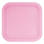 18cm Square Baby Pink Party Plates, Pack of 16