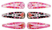 6 Barrettes Sofa Metal Brown Pink Hair Accessories Brand New