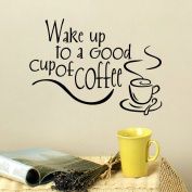 ElecMotive Wake Up to A Good Cup of Coffee Lettering Vinyl Wall Art Home Decoration Wall Sticker Decals Mural Art for Office Kitchen Hotel Dining Room Tea Room Pantry Wall Decals